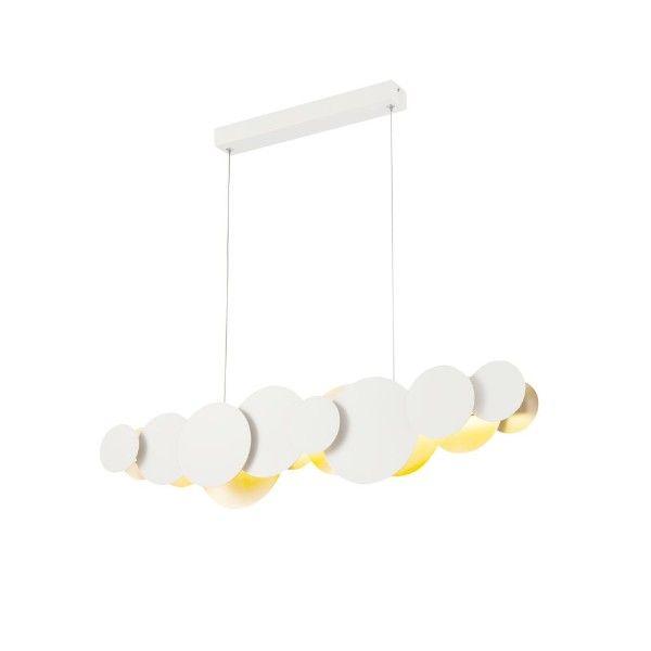 lampa pozioma biało złote koła