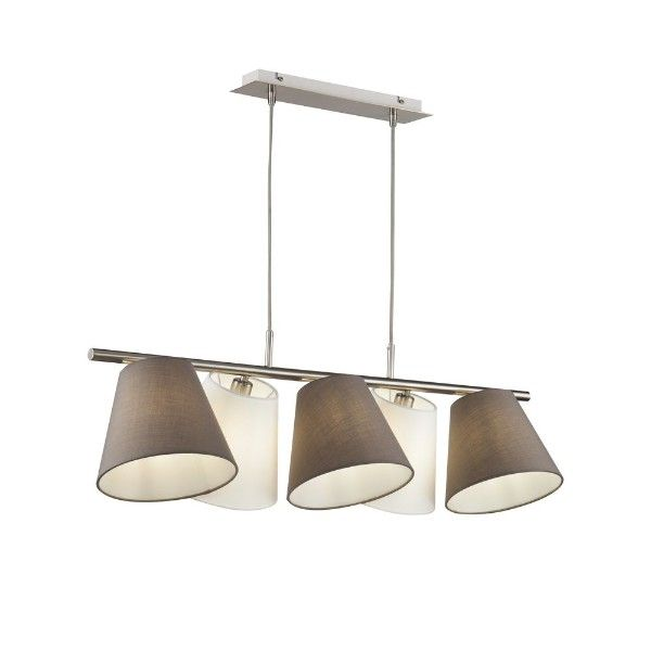 biało-brązowa lampa wisząca z abażurami nad stół