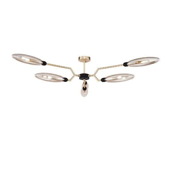 nowoczesna złota lampa sufitowa ze szklanym kloszem
