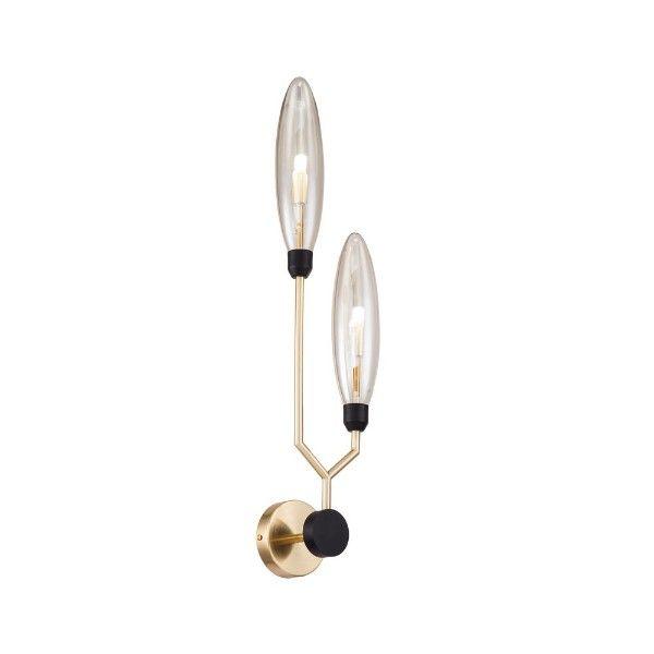 podwójny złoty kinkiet ze szklanym kloszem