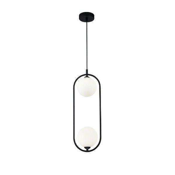 czarna lampa wisząca z białymi szklanymi kulami