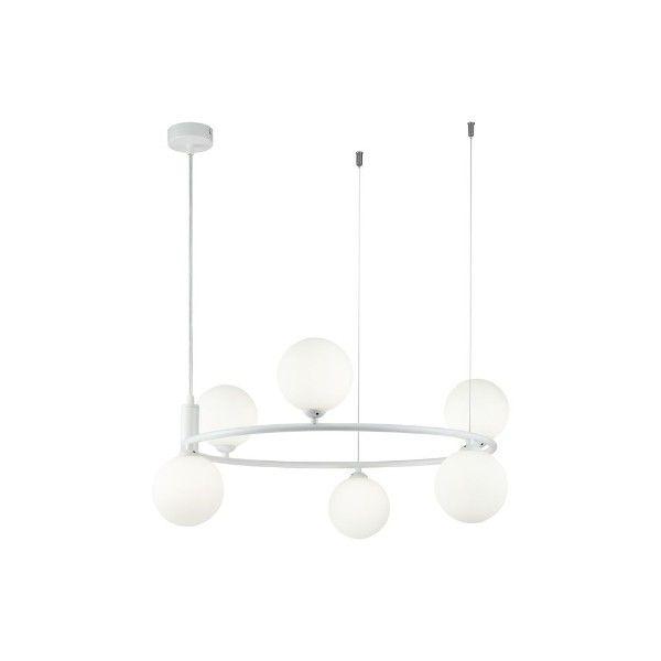biała lampa wisząca ze szklanymi kloszami