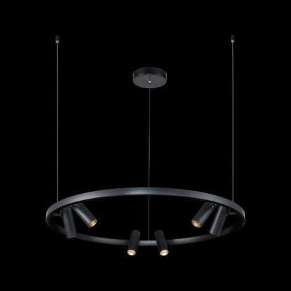czarna lampa wisząca z reflektorkami nowoczesna