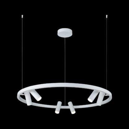 biała lampa wisząca z małymi reflektorkami
