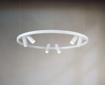 biała lampa wisząca z reflektorami na okręgu