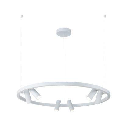 duża lampa wisząca biały okręg reflektory