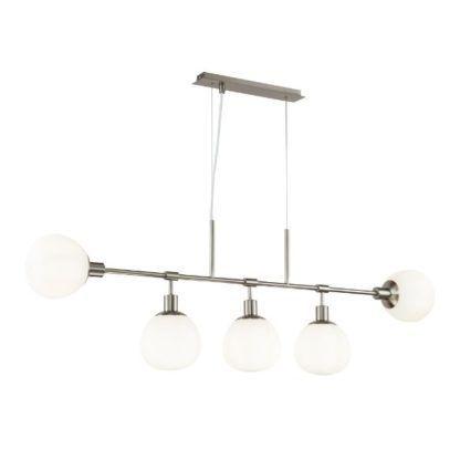 podłużna srebrna lampa wisząca nowoczesna