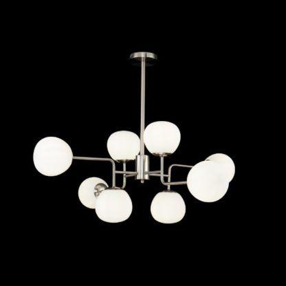 srebrna lampa wisząca ze szklanymi kloszami