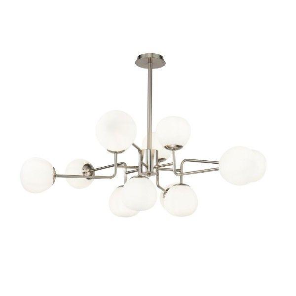 nowoczesna lampa wisząca srebrna ze szklanymi kloszami