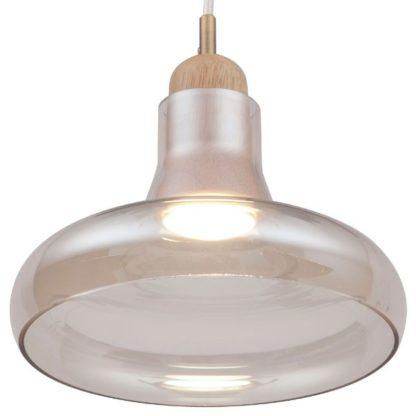 lampa wisząca ze szklanym bursztynowym kloszem