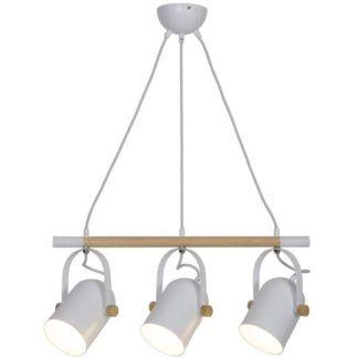 Lampa wisząca Moris - białe klosze, drewniana listwa