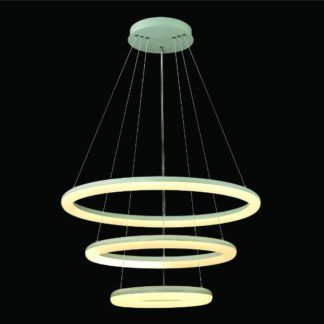 Nowoczesna lampa wisząca Neptun - 3 ringi, biała