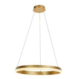 Elegancka lampa wisząca Golden - złoty ring, LED