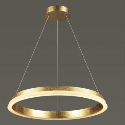złota lampa wisząca obręcz led