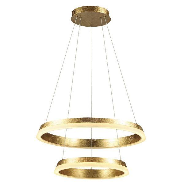 ledowa lampa z ringami złota