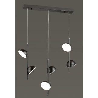 Czarna lampa wisząca Rigatoni - 6 kloszy, LED