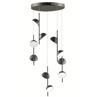 Designerska lampa wisząca Rigatoni - czarne klosze, LED