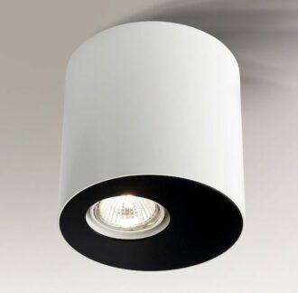 Stylowa lampa tuba Toki - biało-czarna