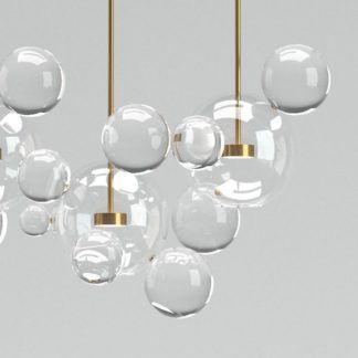 Efektowna złota lampa wisząca LED Bubbles z 14 szklanymi kulami