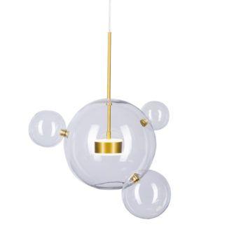 Stylowa lampa wisząca LED Bubbles z 4 kulami z transparentnego szkła