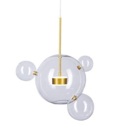designerska lampa wisząca ze szklanymi kulami