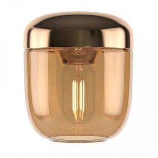 Szklana lampa wisząca Acorn - bursztynowa, mosiądz