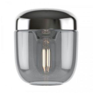 Szklana lampa wisząca Acorn - szara, chrom