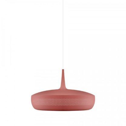 bordowa lampa wisząca płaski klosz
