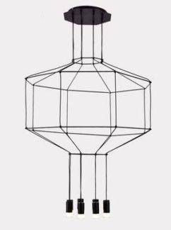 Minimalistyczna lampa wisząca Linea - czarna - 8 żarówek