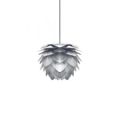 srebrna lampa wisząca nowoczesna do salonu