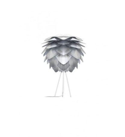 lampa stołowa na trójnogu srebrny klosz