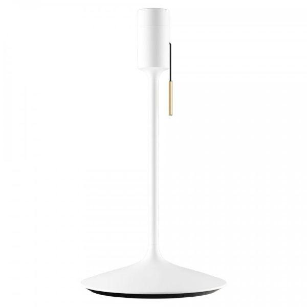 biała lampa stołowa klosz z piór do sypialni