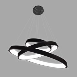 Efektowna lampa wisząca Vogue - czarne ringi LED
