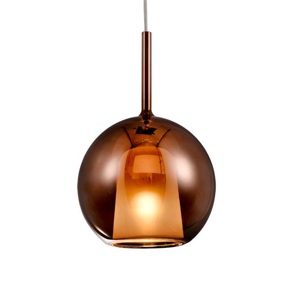 miedziana szklana lampa wisząca