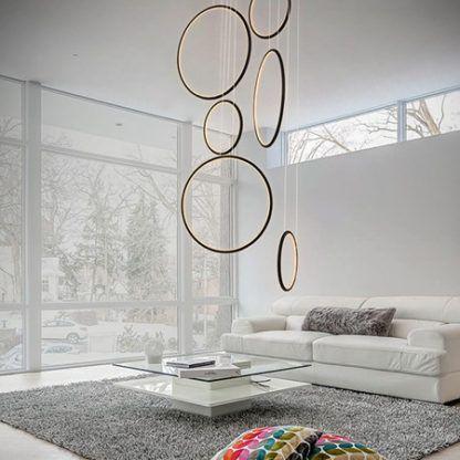 nowoczesna lampa wisząca okręgi led