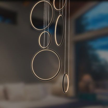 Designerska lampa wisząca Shape - ledowe okręgi, czarna, 3000K