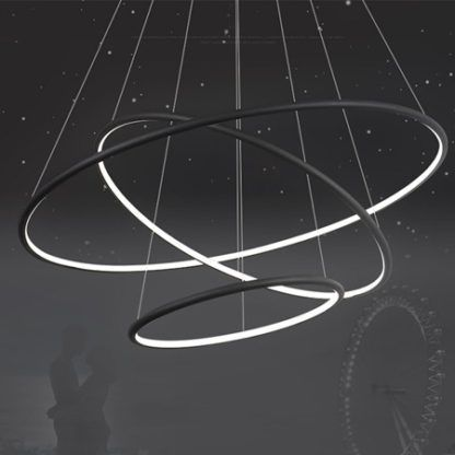czarna lampa wisząca ringi LED