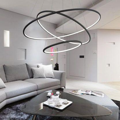 czarna ledowa lampa wisząca salon
