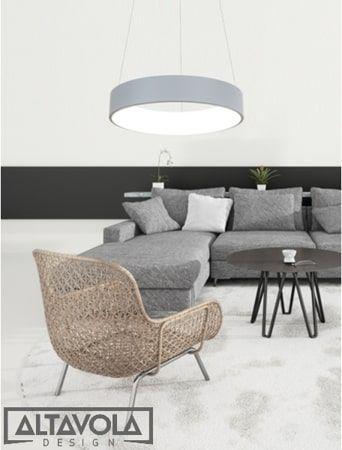 szara lampa wisząca led do salonu