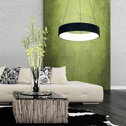 czarna lampa wisząca led do salonu