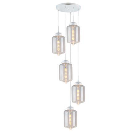 biała lampa wisząca szklane klosze