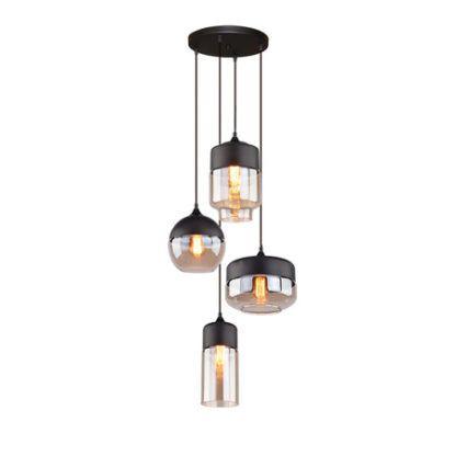 szklana lampa wisząca różne klosze