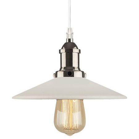 biała metalowa lampa wisząca retro