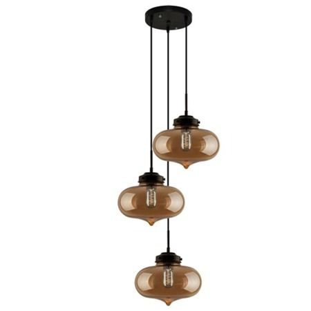 lampa wisząca ze szklanymi kloszami brąz