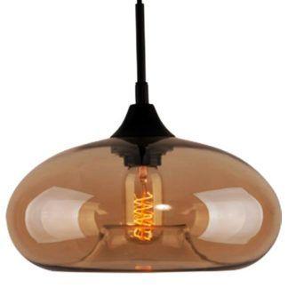 Szklana lampa wisząca London Loft - bursztynowy klosz