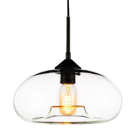 szklana lampa wisząca do salonu skandynawskiego