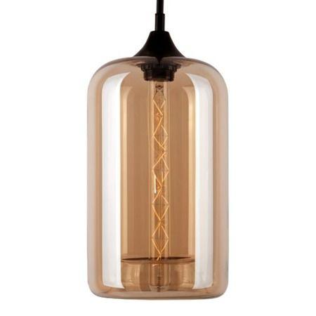 podłużna szklana lampa wisząca ciepły brąz