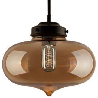 Stylowa lampa wisząca London Loft - szklana, bursztynowa