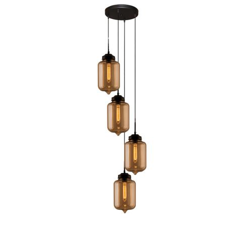 szklana lampa wisząca brązowe klosze
