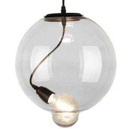 bezbarwna lampa wisząca ze szkła